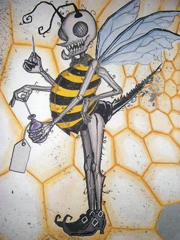bee acrylic wash and ink mix
